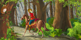 Cartoon scene with a horseman riding through the forest to unknown Stock Photo