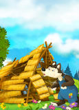 Cartoon scene of house being demolished - wolf puffing. Happy and funny traditional illustration for children - scene for different usage Royalty Free Stock Images