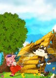 Cartoon scene of house being demolished - wolf puffing and pig running. Happy and funny traditional illustration for children - scene for different usage Royalty Free Stock Image
