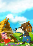 Cartoon scene of house being demolished - wolf puffing and pig running. Happy and funny traditional illustration for children - scene for different usage Royalty Free Stock Photos