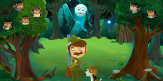 Cartoon scene with hunter and his dog in the forest Royalty Free Stock Photo