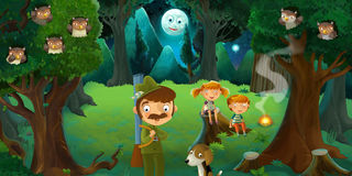 Cartoon scene with hunter and his dog in the forest - kids sitting near him - camping - fire. Beautiful and colorful illustration for the children Stock Photography