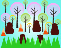 Cartoon scene. Illustration with trees, bears, creative scene Royalty Free Stock Photo