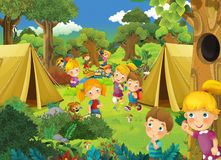 Cartoon scene with kids having fun in the park - camping tents Stock Photo