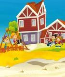 Cartoon scene with kids on the playground Stock Photos
