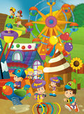 Cartoon scene of kids playing in the funfair Royalty Free Stock Photo
