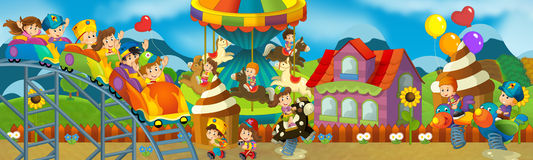 Cartoon scene of kids playing in the funfair Royalty Free Stock Images