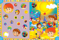 Cartoon scene of kids playing in the funfair - kids at playground Stock Photos