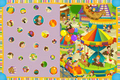 Cartoon scene of kids playing in the funfair - kids at playground Royalty Free Stock Image
