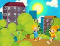 Cartoon scene with kids playing tennis in the park - beautiful day Stock Photography