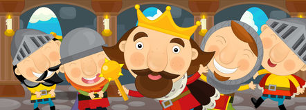 Cartoon scene with king and his knights in the castle Stock Photo