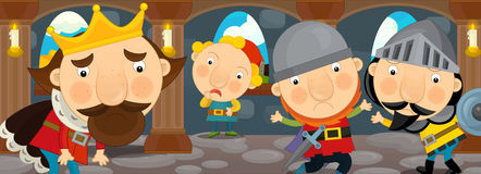 Cartoon scene of a king and the knights talking in the castle hall Stock Photo