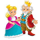 Cartoon scene - king and queen in front of a castle and young couple Royalty Free Stock Photos