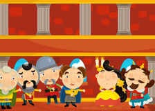Cartoon scene with king queen and his knights in the castle Stock Image