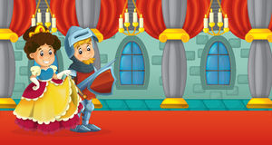 Cartoon scene with knight and lady Royalty Free Stock Image