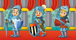 Cartoon scene with knights Royalty Free Stock Images