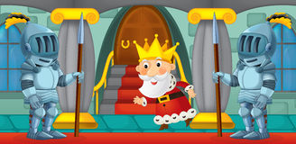 Cartoon scene with knights Royalty Free Stock Photo