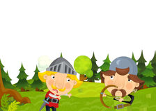 Cartoon scene of knights one is shooting arrow and other is standing in front of him Royalty Free Stock Image