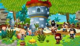 Cartoon scene with knights and pirates preparing to fight royalty free illustration