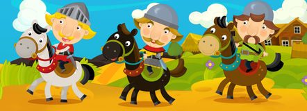 Cartoon scene with knights traveling somewhere - background for different usage - for game or book vector illustration