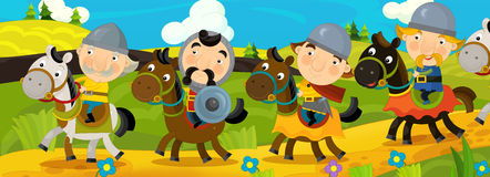 Cartoon scene with knights traveling somewhere - background for different usage - for game or book Royalty Free Stock Images