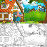 Cartoon scene of little pig's brick house - with coloring page Stock Photo
