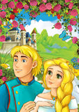 Cartoon scene of loving couple - prince and princess - castle in the background - for different fairy tales Royalty Free Stock Images