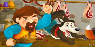 Cartoon scene of a man that caught fox and wolf stealing the food from the pantry Stock Images