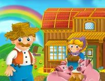 Cartoon scene of man working on the farm Stock Photo