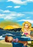 Cartoon scene with mermaid helping young prince - beautiful manga girl Stock Image