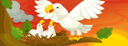 Cartoon scene of mother eagle taking care of her children Royalty Free Stock Images