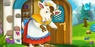 Cartoon scene of mother goat in front of village house Stock Images