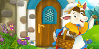 Cartoon scene of mother goat in front of village house Stock Photo