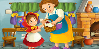 Cartoon scene of a mother or grandmother with a child in the kitchen Royalty Free Stock Photography