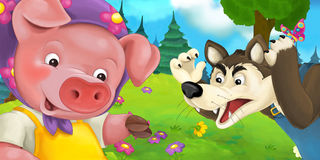 Cartoon scene with mother pig and wolf Royalty Free Stock Photo