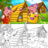 Cartoon scene of mother and son near newly built house - with coloring page Stock Images