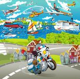 Cartoon scene with motorbike on the street police officer Royalty Free Stock Photo