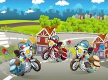 Cartoon scene with motorbikes on the street Stock Photos