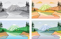 Cartoon scene of the mountain landscape. Royalty Free Stock Images