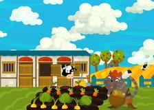 Cartoon scene with noble cat on the farm Royalty Free Stock Photos