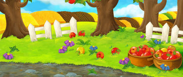 Cartoon scene with noble cat traveler visiting apple garden during beautiful day. Happy and funny traditional illustration for children - scene for different stock illustration
