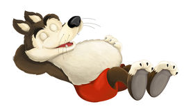 Free Cartoon Scene Of A Wolf Sleeping Or Resting After Eating To Much Royalty Free Stock Image - 74318376
