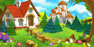 Cartoon scene of an old house in the forest and big castle in the background. Happy and funny traditional illustration for children - scene for different usage Stock Image