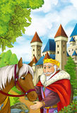 Cartoon scene with old house in the forest and someone horse transportation Royalty Free Stock Images