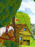 Cartoon scene with old house in the forest and someone horse transportation Stock Image