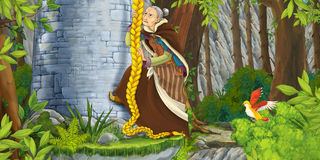 Cartoon scene of an old lady climbing near the rocky wall Stock Images