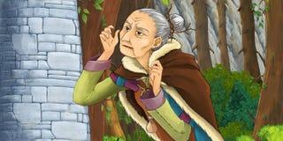 Cartoon scene of an old lady near the rocky wall Stock Photography