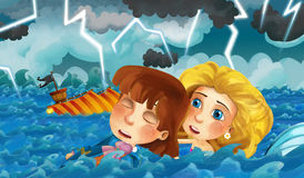 Cartoon scene with old ship sinking during storm with mermaid rescuing prince Stock Photo