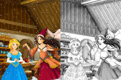 Cartoon scene in the old traditional kitchen  Stock Image