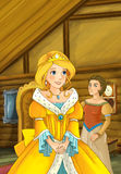 Cartoon scene in the old traditional kitchen - sorceress or princess talking to some other woman   Royalty Free Stock Photo